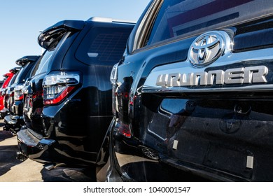 Indianapolis - Circa March 2018: Local Toyota Car and SUV Dealership. Toyota is a high quality Japanese Auto Manufacturer I
