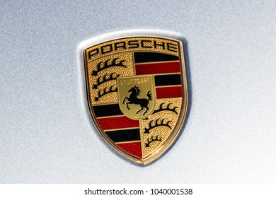 Indianapolis - Circa March 2018: Traditional Porsche Crest with the horse of the Stuttgart coat of arms on a new Cayenne. Porsche Racing Dates to the 1950s II