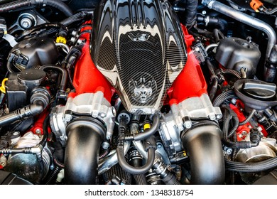 Indianapolis - Circa March 2019: 3.8 litre twin turbo V8 engine of a Maserati Levante. Maserati is a luxury car division of Fiat Chrysler I