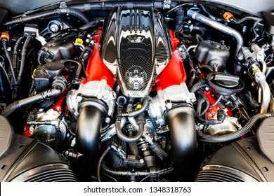 Indianapolis - Circa March 2019: 3.8 litre twin turbo V8 engine of a Maserati Levante. Maserati is a luxury car division of Fiat Chrysler II