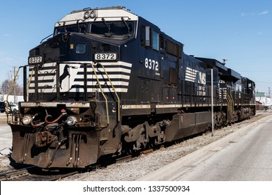 Indianapolis - Circa March 2019: Norfolk Southern Railway Engine Train. NS is a Class I railroad in the US and is listed as NSC IV