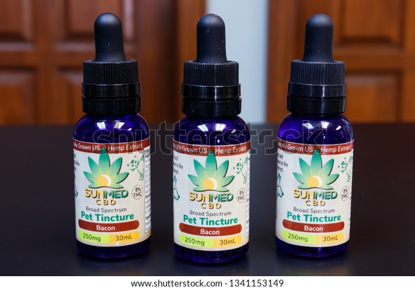 Indianapolis - Circa March 2019: SunMed CBD Infused Pet Tincture. The popularity of CBD oil as a medicinal product has skyrocketed X