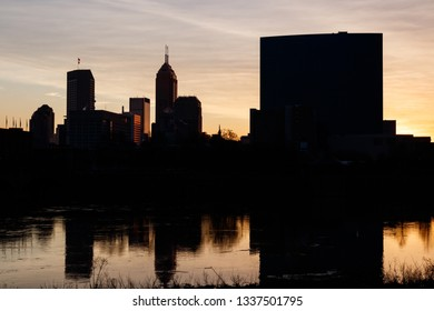 Indianapolis: Circa March 2019: Sunrise silhouette of the Indy downtown skyline including the Salesforce, KeyBank, OneAmerica Towers and the JW Marriott VI
