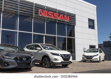 Indianapolis - Circa March 2021: Nissan Car and SUV Dealership. Nissan is part of the Renault–Nissan Alliance.