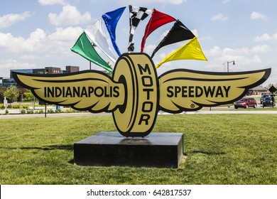Indianapolis - Circa May 2017: Logo and signage of the Indianapolis Motor Speedway. IMS Hosts the Indy 500 and Brickyard 400 Auto Races VII