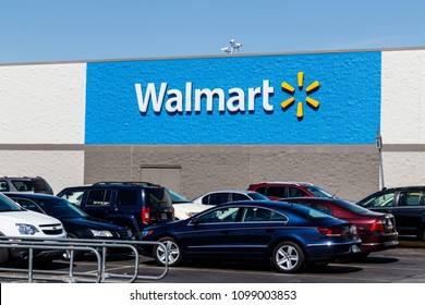 Indianapolis - Circa May 2018: Walmart Retail Location. Walmart is boosting its internet and ecommerce presence to keep up with competitors V