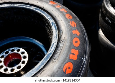 Indianapolis - Circa May 2019: Firestone Firehawk tires prepared for racing. Firestone tires are the exclusive tire of IndyCar II