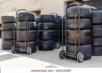 Indianapolis - Circa May 2019: Firestone Firehawk tires prepared for racing. Firestone tires are the exclusive tire of IndyCar IV