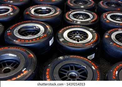 Indianapolis - Circa May 2019: Firestone Firehawk tires prepared for racing. Firestone tires are the exclusive tire of IndyCar