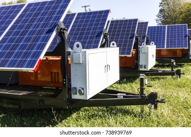 Indianapolis - Circa October 2017: Mobile Photovoltaic Solar Panels on trailers. The ultimate in portable and emergency power, each unit is also equipped with a generator III