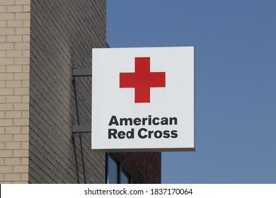 Indianapolis - Circa October 2020: American Red Cross sign. The American National Red Cross provides emergency assistance and disaster relief.