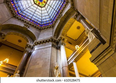 Indianapolis - Circa September 2016: Indiana State Capital Rotunda. The beautiful stained glass rotunda window is original and made from German glass