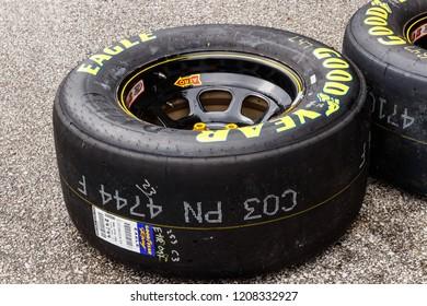 Indianapolis - Circa September 2018: Sets of Goodyear Eagle NASCAR Racing tires II