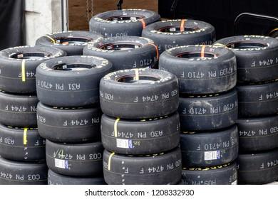 Indianapolis - Circa September 2018: Sets of Goodyear Eagle NASCAR Racing tires III