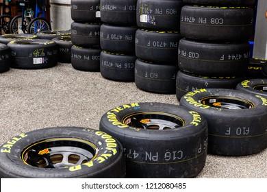 Indianapolis - Circa September 2018: Sets of Goodyear Eagle NASCAR Racing tires
