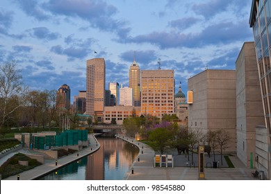 Indianapolis. Image of downtown Indianapolis, Indiana at sunset.