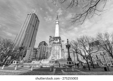 INDIANAPOLIS, INDIANA, April 14, 2015: The Indiana State Soldiers and Sailors Monument is a 284 ft 6 in (86.72 m) neoclassical monument built on Monument Circle,