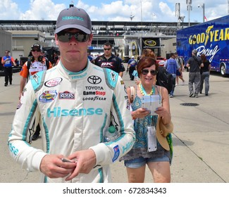 Indianapolis, Indiana - July 24, 2016: NASCAR Brickyard 400 Sprint Cup series stock car race was held at the Indianapolis Motor Speedway in Speedway, Indiana. This 23rd. running was won by Kyle Bush.