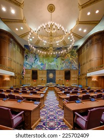 INDIANAPOLIS, INDIANA - OCTOBER 23: Fisheye perspective of the House of Representatives Chamber of the Indiana State Capitol building on October 23, 2014 in Indianapolis, Indiana