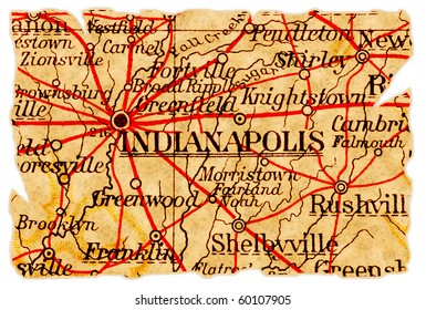 Indianapolis, Indiana on an old torn map from 1949, isolated. Part of the old map series.