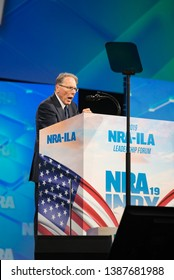 Indianapolis, Indiana / USA - April 26 2019: NRA National Rifle Association Executive Vice President and CEO Wayne LaPierre addresses crowd at annual convention meeting and exhibits Leadership Forum.
