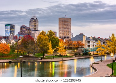 Indianapolis, Indiana, USA downtown cityscape on the White River at dusk.