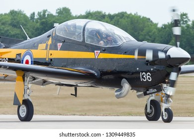 Indianapolis, Indiana, USA - June 23, 2012: Indianapolis Airshow, EMB 312 Tucano taxing after landing