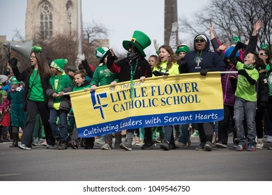 Indianapolis, indiana, USA - March 16, 2018, The St. Patrickâ??s Day Parade is a cultural and religious celebration from Ireland in honor of  Saint Patrick.