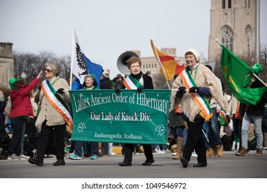 Indianapolis, indiana, USA - March 16, 2018, The St. Patrickas Day Parade is a cultural and religious celebration from Ireland in honor of  Saint Patrick.