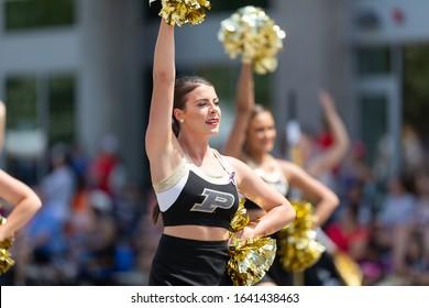 Indianapolis, Indiana, USA - May 25, 2019: Indy 500 Parade, Cheerleaders from the Purdue University, performing at the parade