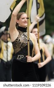 Indianapolis, Indiana, USA - May 26, 2018, Purdue University Cheerleaders perform at the Indy 500 Parade
