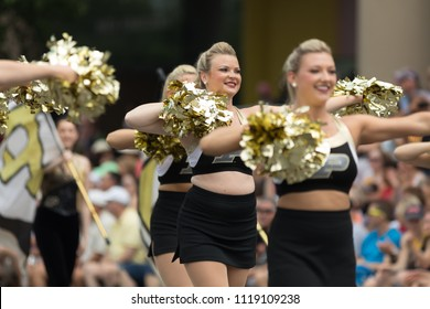 Indianapolis, Indiana, USA - May 26, 2018, Purdue University Cheerleaders perform at the Indy 500 Parade