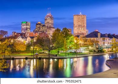 Indianapolis, Indiana, USA river walk and skyline.