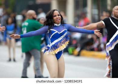 Indianapolis, Indiana, USA - September 22, 2018: The Circle City Classic Parade, Dancers from the group Dimond Divis from Indianapolis, dancing during the parade