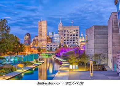 Indianapolis, Indiana, USA skyline on the Canal Walk.