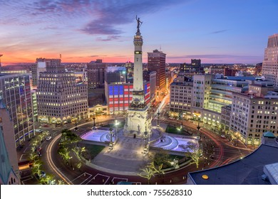 Indianapolis, Indiana, USA skyline over Monument Circle.