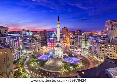 indianapolis indiana usa skyline over monument stock photo edit now