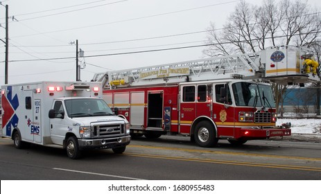 Indianapolis, Indiana/USA-January 29,2020. Indianapolis Fire Department, Indianapolis EMS, and IMPD on an entrapment run.