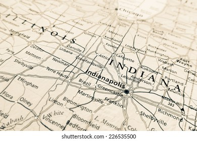 Indianapolis map - Indiana  (Geographical view altered on colors/perspective and focus on the edge. Names can be partial or incomplete)