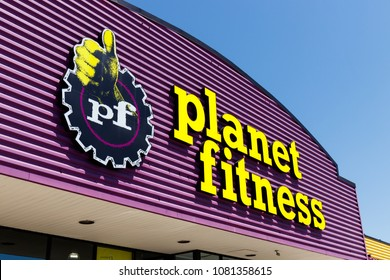 Indianapolis -  May 2018: Planet Fitness local gym and workout center. Planet Fitness markets itself as a Judgment Free Zone I