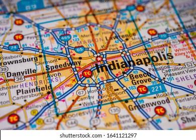 Indianapolis on USA map travel background