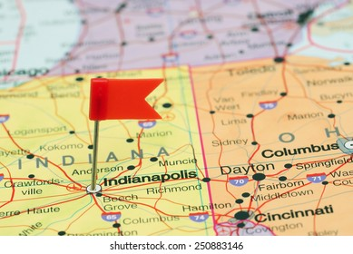 Indianapolis pinned on a map of USA