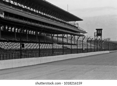 INDIANAPOLIS – SEPTEMBER 14, 1979: Indianapolis motor speedway interior. Vintage picture taken in 1979.