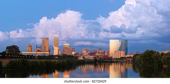 Indianapolis skyline. Panoramic image of Indianapolis skyline at sunset after thunderstorm.