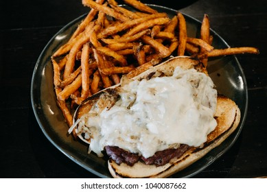 Indianapolis, IN / US -05202017: Philly Cheese Steak with fries from Oreilly's Irish Pub and Restaurant