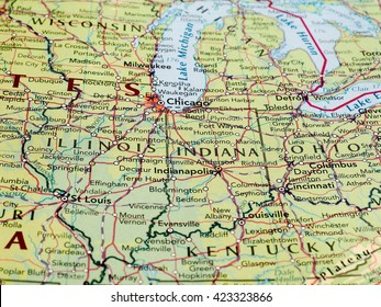 INDIANAPOLIS, USA - CIRCA MAY 2016: Map of the state of Indiana with selective focus on state name
