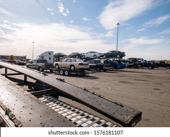 Indianapolis, IN / USA Nov 15, 2019 Car auction in Indianapolis. Car hauler ready to load his truck-trailer.