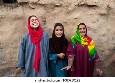 Indian,Kasmiri local girl having fun and smile with hapiness on the Pahalgam village,Jammu and Kashmir state of India. ( 18 April 2018, Pahalgam village,Kashmir India)