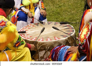 Indians Drumming at a Pow Wow