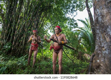 Indians of the Mentawai Tribe, Pulau Siberut, Mentawai Islands, Sumatra, Indonesia, october, 2017